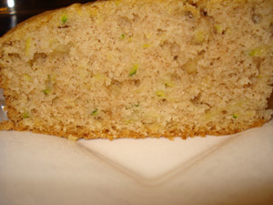 Inside the bread, lovely green specks from the zucchini peel